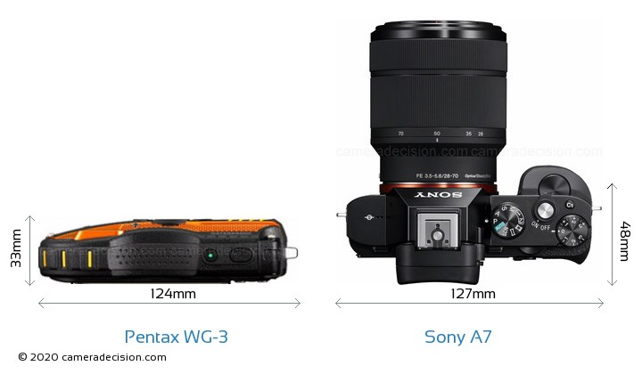 Pentax WG-3 vs Sony A7 Camera Size Comparison - Top View
