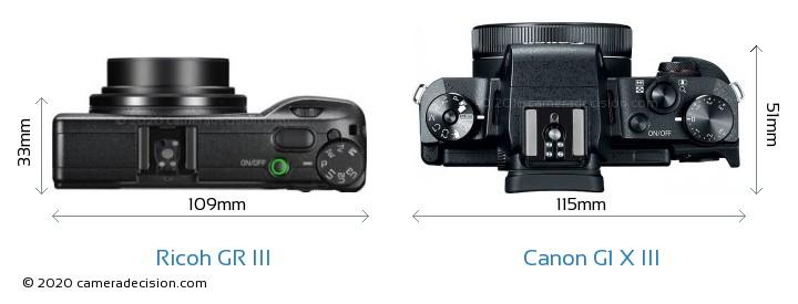Ricoh GR III vs Canon G1 X III Camera Size Comparison - Top View