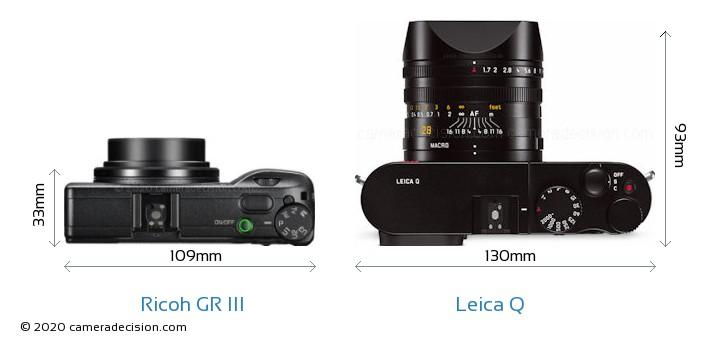 Ricoh GR III vs Leica Q Camera Size Comparison - Top View