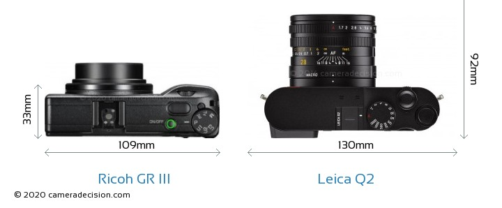 Ricoh GR III vs Leica Q2 Camera Size Comparison - Top View