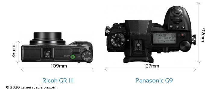 Ricoh GR III vs Panasonic G9 Camera Size Comparison - Top View