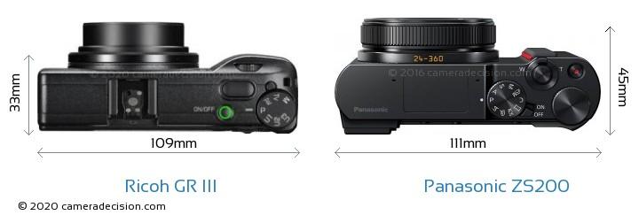 Ricoh GR III vs Panasonic ZS200 Camera Size Comparison - Top View