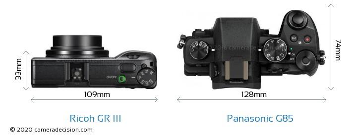 Ricoh GR III vs Panasonic G85 Camera Size Comparison - Top View
