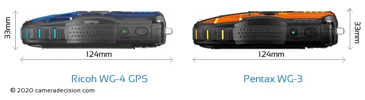Ricoh WG-4 GPS vs Pentax WG-3 Camera Size Comparison - Top View
