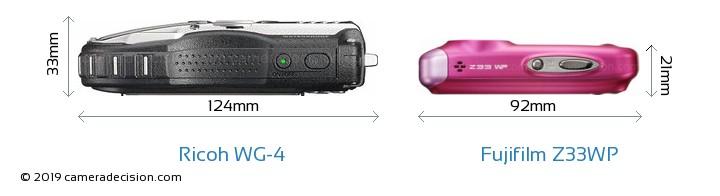 Ricoh WG-4 vs Fujifilm Z33WP Camera Size Comparison - Top View