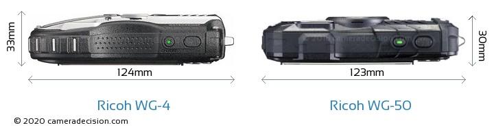 Ricoh WG-4 vs Ricoh WG-50 Camera Size Comparison - Top View