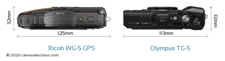 Ricoh WG-5 GPS vs Olympus TG-5 Camera Size Comparison - Top View