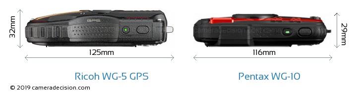 Ricoh WG-5 GPS vs Pentax WG-10 Camera Size Comparison - Top View