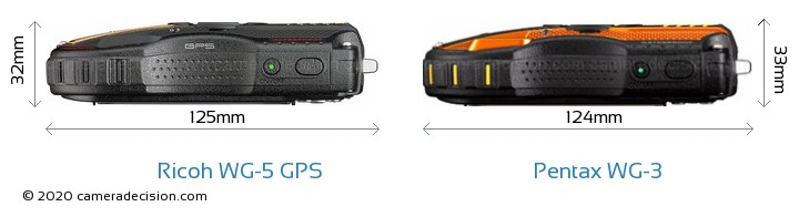Ricoh WG-5 GPS vs Pentax WG-3 Camera Size Comparison - Top View