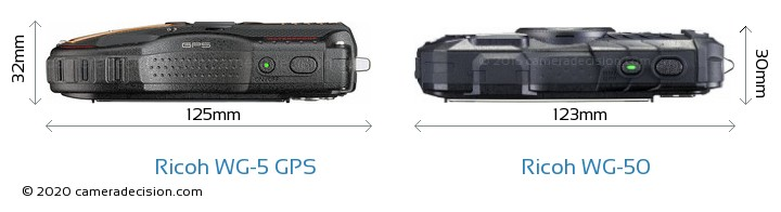 Ricoh WG-5 GPS vs Ricoh WG-50 Camera Size Comparison - Top View