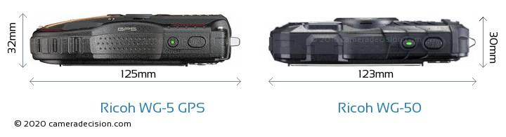 Ricoh WG-5 GPS vs Ricoh WG-50 Camera Size Comparison - Top View