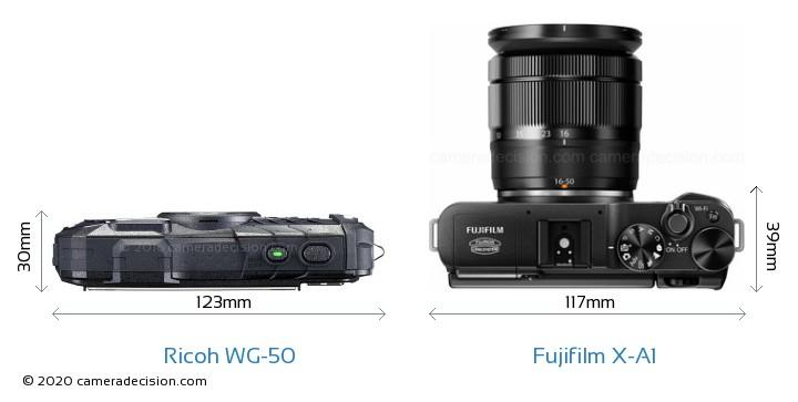 Ricoh WG-50 vs Fujifilm X-A1 Camera Size Comparison - Top View