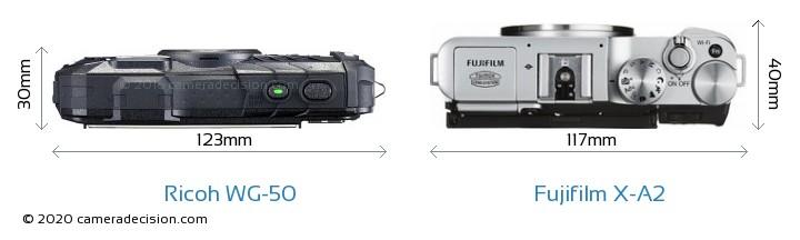 Ricoh WG-50 vs Fujifilm X-A2 Camera Size Comparison - Top View