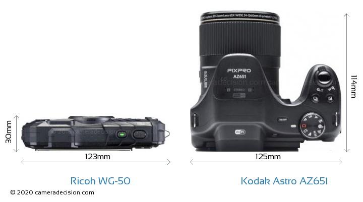 Ricoh WG-50 vs Kodak Astro Zoom AZ651 Camera Size Comparison - Top View