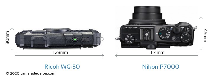 Ricoh WG-50 vs Nikon P7000 Camera Size Comparison - Top View