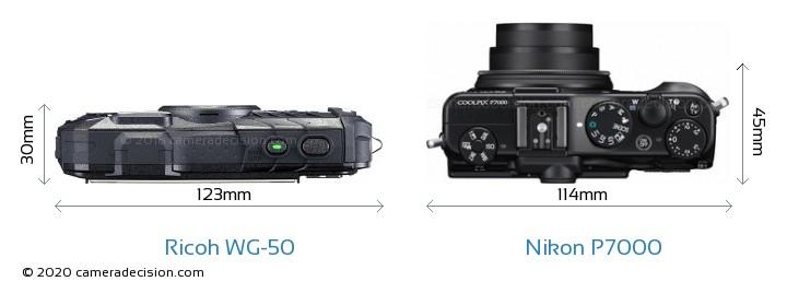 Ricoh WG-50 vs Nikon P7000 Camera Size Comparison - Top View