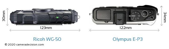 Ricoh WG-50 vs Olympus E-P3 Camera Size Comparison - Top View