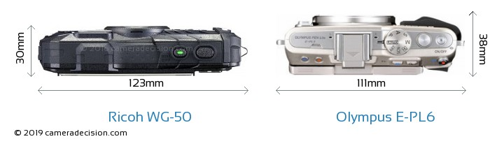Ricoh WG-50 vs Olympus E-PL6 Camera Size Comparison - Top View