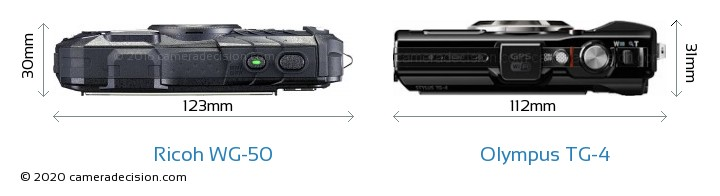 Ricoh WG-50 vs Olympus TG-4 Camera Size Comparison - Top View