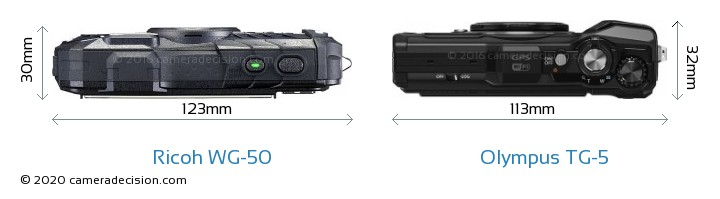 Ricoh WG-50 vs Olympus TG-5 Camera Size Comparison - Top View
