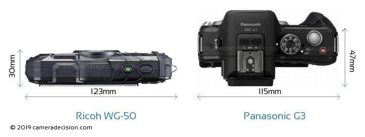 Ricoh WG-50 vs Panasonic G3 Camera Size Comparison - Top View
