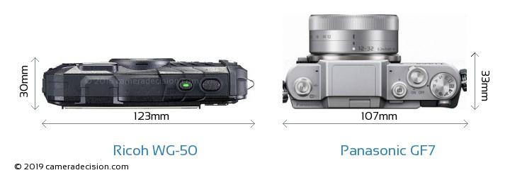 Ricoh WG-50 vs Panasonic GF7 Camera Size Comparison - Top View