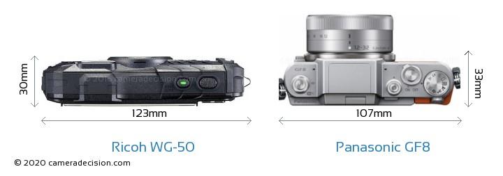 Ricoh WG-50 vs Panasonic GF8 Camera Size Comparison - Top View