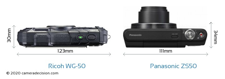 Ricoh WG-50 vs Panasonic ZS50 Camera Size Comparison - Top View