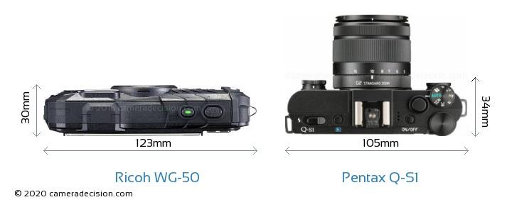 Ricoh WG-50 vs Pentax Q-S1 Camera Size Comparison - Top View