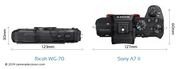 Ricoh WG-70 vs Sony A7 II Camera Size Comparison - Top View