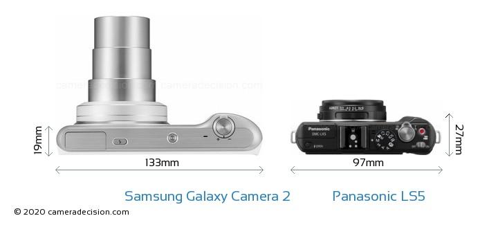 Samsung Galaxy Camera 2 vs Panasonic LS5 Camera Size Comparison - Top View