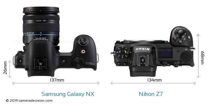 Samsung Galaxy NX vs Nikon Z7 Camera Size Comparison - Top View