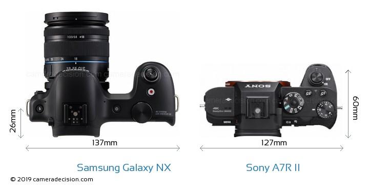 Samsung Galaxy NX vs Sony A7R II Camera Size Comparison - Top View