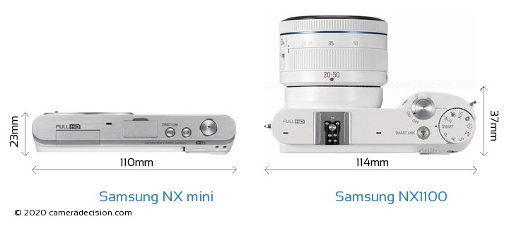 Samsung NX mini vs Samsung NX1100 Camera Size Comparison - Top View