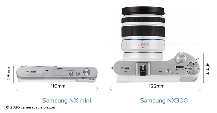 Samsung NX mini vs Samsung NX300 Camera Size Comparison - Top View