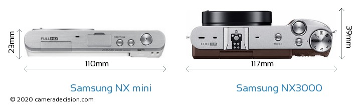 Samsung NX mini vs Samsung NX3000 Camera Size Comparison - Top View