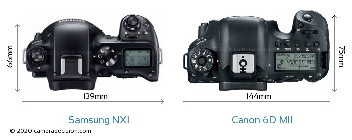 Samsung NX1 vs Canon 6D MII Camera Size Comparison - Top View