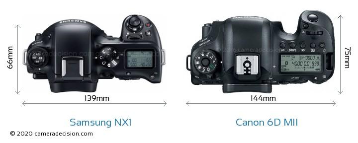 Samsung NX1 vs Canon 6D MII Camera Size Comparison - Top View