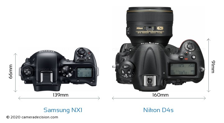 Samsung NX1 vs Nikon D4s Camera Size Comparison - Top View
