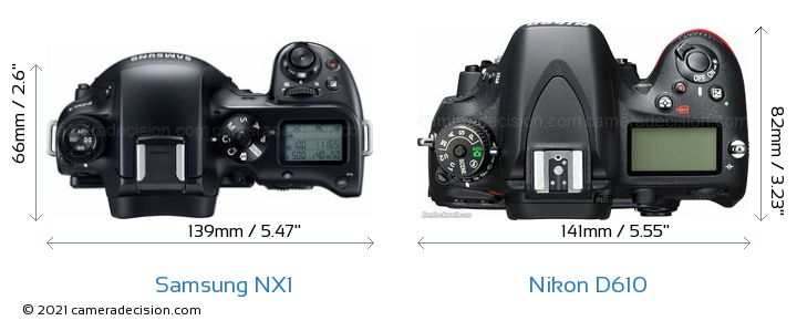 Samsung NX1 vs Nikon D610 Camera Size Comparison - Top View