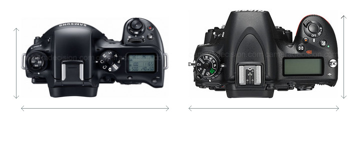 Samsung NX1 vs Nikon D750 Camera Size Comparison - Top View