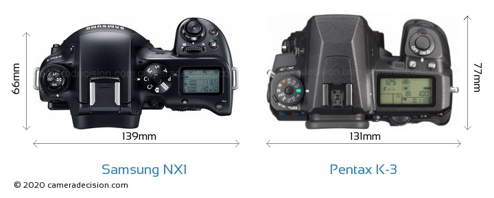 Samsung NX1 vs Pentax K-3 Camera Size Comparison - Top View