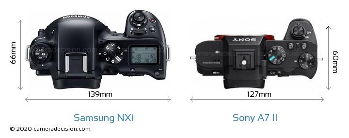 Samsung NX1 vs Sony A7 II Camera Size Comparison - Top View