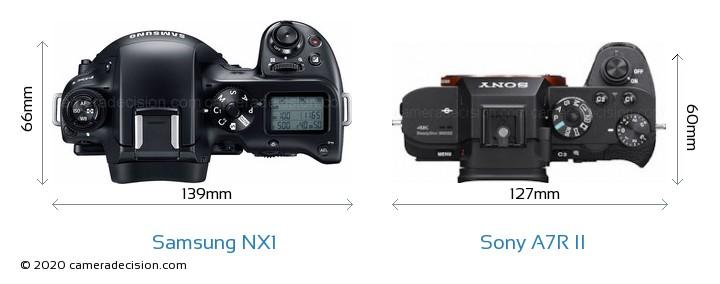 Samsung NX1 vs Sony A7R II Camera Size Comparison - Top View