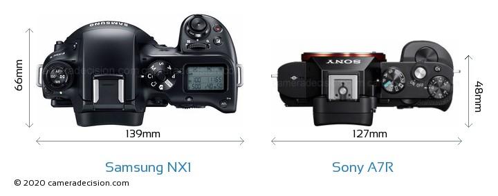 Samsung NX1 vs Sony A7R Camera Size Comparison - Top View