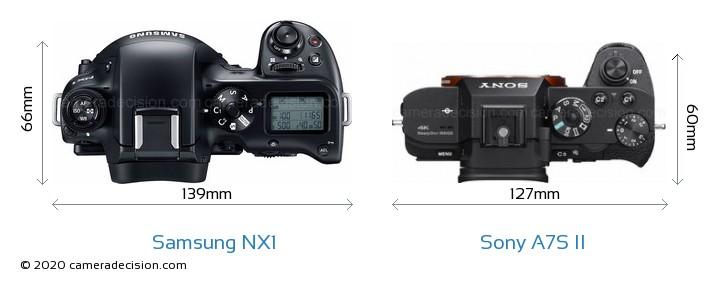 Samsung NX1 vs Sony A7S II Camera Size Comparison - Top View