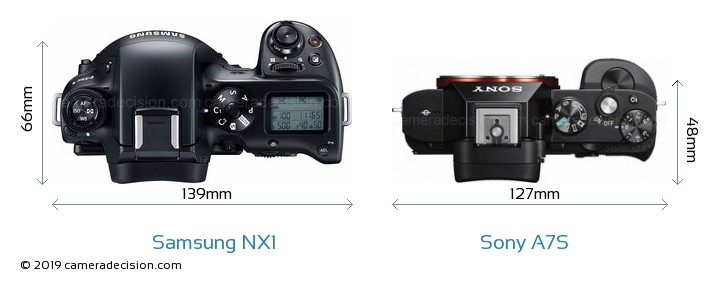 Samsung NX1 vs Sony A7S Camera Size Comparison - Top View