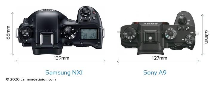 Samsung NX1 vs Sony A9 Camera Size Comparison - Top View
