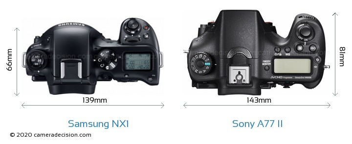 Samsung NX1 vs Sony A77 II Camera Size Comparison - Top View