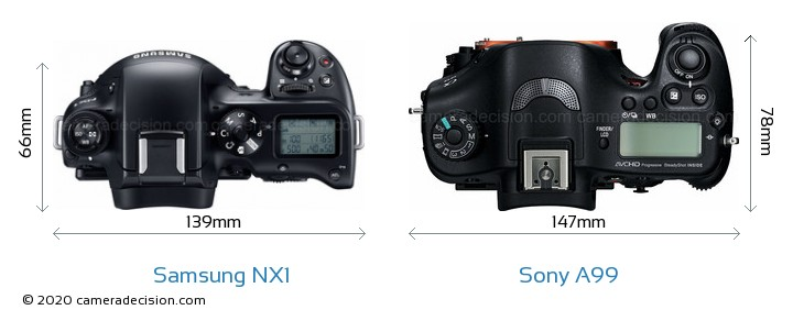 Samsung NX1 vs Sony A99 Camera Size Comparison - Top View